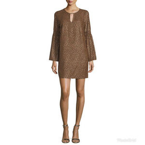 NEW Michael Kors Bell-Sleeve Metallic Shift Dress